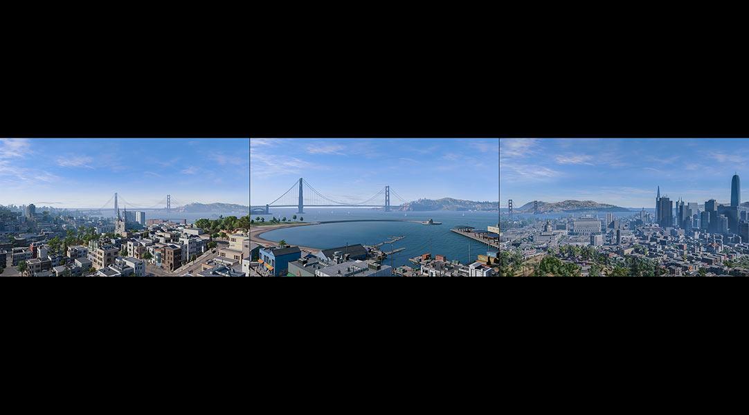 2018 Virtual Cities San Francisco Tritych N1 000 tty art - 2018 - Virtual In-Game Cities. San Francisco. Triptych N°1