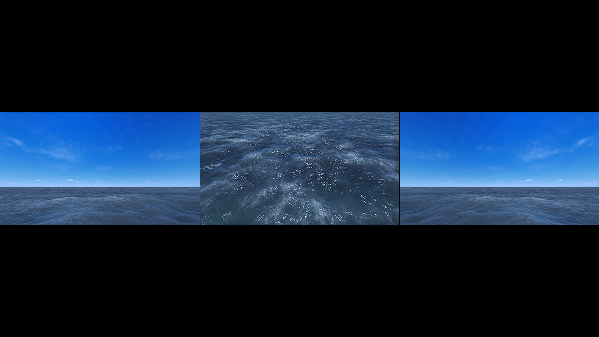 Virtual Sea VII Triptych II 000 1 - 2018 - Virtual Sea VII. (Computer Art)