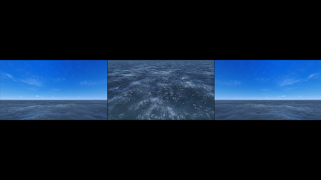 Virtual Sea VII Triptych II 000 - 2018 - Virtual Sea VII. (Computer Art)