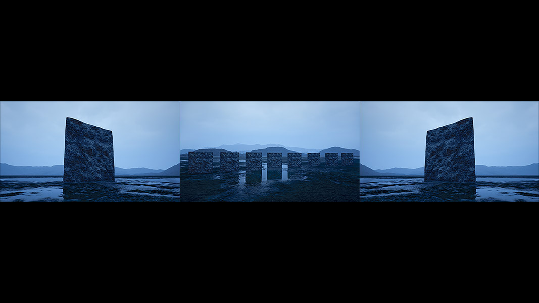 Virtual Land Art V2 Triptych N°3 000 - 2018 - Virtual Land Art. V2