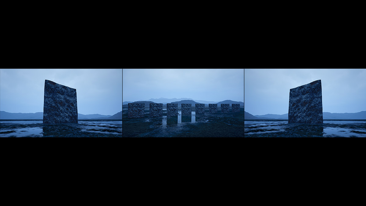 Virtual Land Art V2 Triptych N°3 000b - 2018 - Virtual Land Art. V2