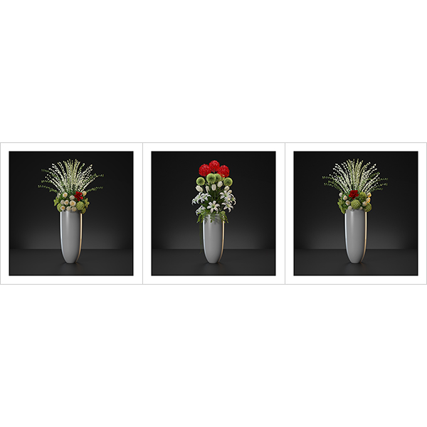 Virtual Flowers Bouquet Triptych N1 000 - 2020 - Virtual Flowers. Bouquet. Triptych N°1