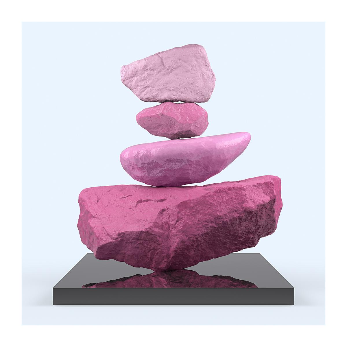 145 I will not Make any more Boring Art XXIV 001 - 2021 - I will not Make any more Boring Art. XXIV. (Rock Balancing - The Rose Period)