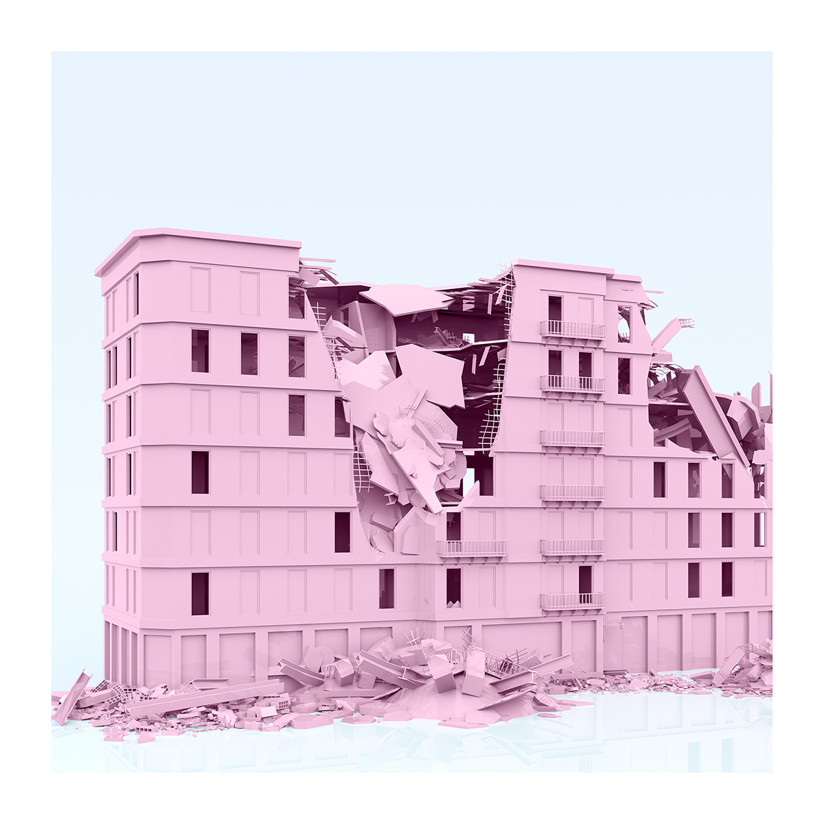 165 I will not Make any more Boring Art XXVIII 001 - 2021 - I will not Make any more Boring Art. XXVIII. (War-Affected Buildings - The Rose Period)